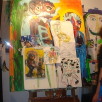 Easel w/ Works In Progress
